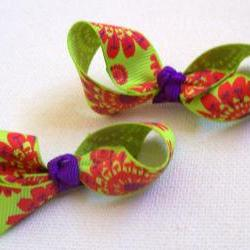Mini Bow Infinity Loop Pair - Green, Purple, Red