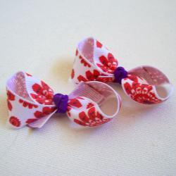 Mini Bow Infinity Loop Pair - White, Red, Purple