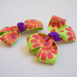 Mini Boutique Bow Pair - Green, Purple, Red